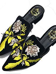 Mulheres Sapatos Camurça Primavera Verão Inovador Chanel Mocassins e Slip-Ons Salto Robusto Salto de bloco Dedo Apontado Flor para