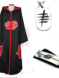 cheap -Inspired by Naruto Akatsuki Anime Cosplay Costumes Cosplay Suits Cosplay Accessories Solid Colored Long Sleeves Cloak More Accessories For