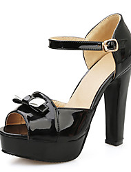 Women's Sandals Summer Club Shoes Patent Leather Wedding Dress Party & Evening Chunky Heel Bowknot Buckle Hollow-outWhite Black Red