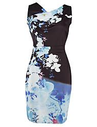 Women's Formal Party Vintage Bodycon Dress,Print V Neck Knee-length Sleeveless Blue Cotton Polyester Summer High Rise