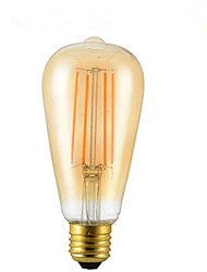 1 pcs 4 w e26 / e27 led filament ampoules st64 4 leds cob décoratif dimmable blanc chaud 300-350lm 2300-2800k ac 85-265v