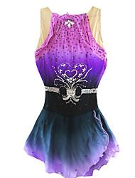 Robe de Patinage Artistique Femme Fille Patinage Robes Noir + Violet Spandex Strass Paillété Perles Utilisation Tenues de Sport Tenue de