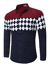 Men's Going out Casual/Daily Simple Street chic Spring Fall Shirt,Geometric Classic Collar Long Sleeves Cotton Polyester Thin