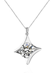 cheap -Women's Rhinestone Imitation Diamond Pendant Necklace  -  Unique Design Geometric Silver Necklace For Wedding Engagement Daily