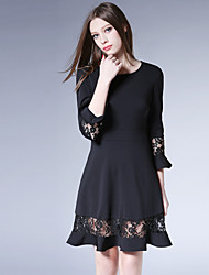 Women's Going out Casual/Daily Work Cute Street chic Sophisticated A Line Dress,Solid Color Block V Neck Above Knee ¾ Sleeve Polyester