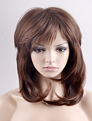 cheap -Women Synthetic Wigs Fashion Medium Length Brown Layered Haircut With Natural Bangs Wavy Heat Friendly Fiber Wig