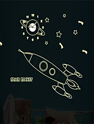 cheap -1Pcs  Children Bedroom Luminous Wall Stickers Luminous Rocket Shaped For A Wall Clock
