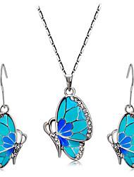 abordables -Mujer Cristal Conjunto de joyas - Brillante Mariposa, Animal Incluir Azul Para Boda / Fiesta / Diario