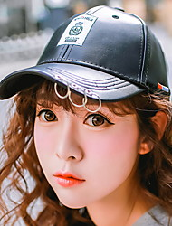 Unisex Casual Leather Iron Ring Patch Printed Baseball Cap Men Women Outdoor Winter Hat