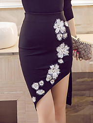 cheap -Women's Floral Red /Black Bodycon Skirts Plue Size Sexy Work Embroidered Beaded High Waist Asymmetrical Spring /Summer