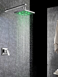 Contemporary Modern Tub And Shower LED Waterfall Rain Shower with  Ceramic Valve Single Handle One Hole for  Chrome , Shower Faucet
