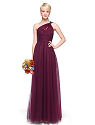A-Line One Shoulder Floor Length Chiffon Bridesmaid Dress with Pleats by LAN TING BRIDE®