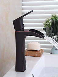 cheap -Contemporary Centerset Waterfall Ceramic Valve Single Handle One Hole Oil-rubbed Bronze, Bathtub Faucet
