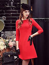 Mujer Línea A Vaina Camiseta Vestido Noche Casual/Diario Fiesta/Cóctel Vintage Chic de Calle Sofisticado,Un Color Escote RedondoSobre la
