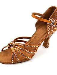 Women's Latin Jazz Salsa Swing Shoes Satin Sandal Heel Practice Beginner Professional Indoor Performance Rhinestone Sequin Buckle