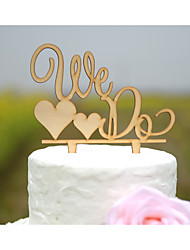 We Do Wedding Cake Topper Made of Natural Wood in Natural Wood Color Fits 4-8 Inches Cakes