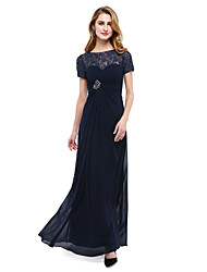 A-Line Bateau Neck Floor Length Chiffon Lace Mother of the Bride Dress with Beading Criss Cross Ruching by LAN TING BRIDE®