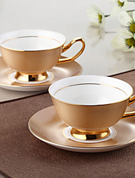 cheap -1PC  Wedding gift of European high-grade bone china coffee cup dish set gold cup