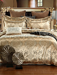 cheap -Duvet Cover Sets Floral Silk / Cotton Blend Jacquard 4 Piece
