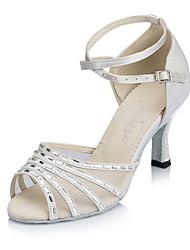Women's Dance Shoes Satin Satin Latin Heels Flared Heel Practice Beginner Indoor Outdoor Performance Black White Customizable