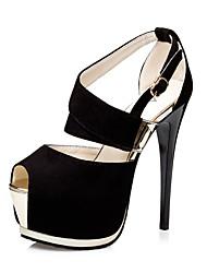 Da donna-Tacchi-Matrimonio Ufficio e lavoro Casual Serata e festa-Light Up Shoes-A stiletto-Felpato-Nero Grigio Rosa Rosa