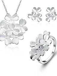 preiswerte -versilbert Schmuck-Set Haken / 1 Halskette / 1 Paar Ohrringe - Silber Für Hochzeit / Alltag / Normal