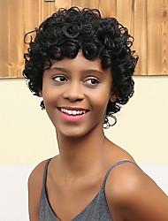 Недорогие -новый рисунок короткий объем преобладает модный афро-ролл человеческих волос парик
