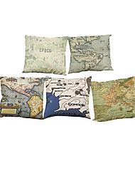 Set of 5 European retro  Map pattern Linen Pillowcase Sofa Home Decor Cushion Cover