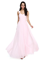 A-Line Straps Floor Length Chiffon Bridesmaid Dress with Sash / Ribbon Criss Cross Ruching by LAN TING BRIDE®