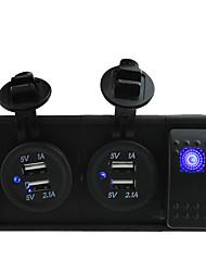 dc 12v prese / 24v due 3.1a porta USB con ponticelli interruttori a bilanciere e titolare abitazioni