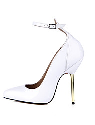 cheap -Women's Shoes Patent Leather Spring Fall Ankle Strap Heels Stiletto Heel Pointed Toe for Wedding Dress Party & Evening White