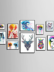 cheap -E-HOME® Framed Canvas Art People And Animals Watercolor Painting (2)Theme Series Framed Canvas Print One Pcs