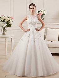 A-Line Illusion Neckline Court Train Satin Tulle Wedding Dress with Beading by MD