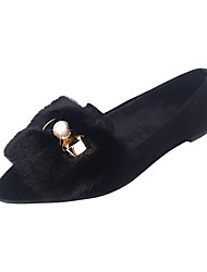 cheap -Women's Flats Walking Comfort PU Winter Casual Pearl Flat Heel Black Gray Light Brown 1in-1 3/4in