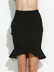 cheap -Women's Work Plus Size Bodycon Skirts - Solid Colored, Ruffle