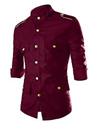 Недорогие -Муж. Заклепки С принтом Рубашка, Классический воротник Однотонный