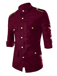 cheap -Men's Shirt - Solid, Rivet Print Classic Collar