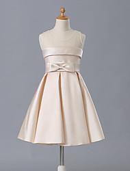 a-line kurz / mini Blumenmädchen Kleid - matt Satin ärmelloser Juwel Hals mit Bogen (s) von likestar