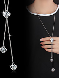 cheap -Lariat Pendant Necklace / Y Necklace - Cubic Zirconia, Silver Plated Flower Basic, Fashion Silver Necklace For Wedding, Party, Special Occasion