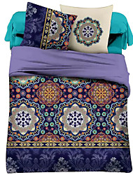 Duvet Cover Sets Floral 4 Piece Polyester Reactive Print Polyester 4pcs (1 Duvet Cover, 1 Flat Sheet, 2 Shams)