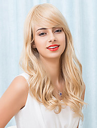 Beautiful Long Golden Capless Wigs Natural Wave Human Hair 2017