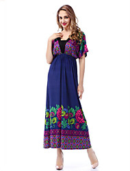 cheap -sweet curve Women's Plus Size Beach Boho Swing Dress Print Maxi