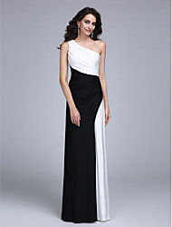 baratos -Tubinho Assimétrico Longo Microfibra Jersey Color Block Evento Formal Vestido com Drapeado Lateral de TS Couture®