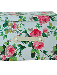 RayLineDo® 26L Simulated Lining Durable Fabric Foldable Storage Box Clothes Blanket Closet Sweater Organizer Canvas with Flowers in Red