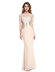 cheap -Mermaid / Trumpet Jewel Neck Floor Length Chiffon Stretch Satin Mother of the Bride Dress with Beading Appliques Pleats by LAN TING BRIDE®