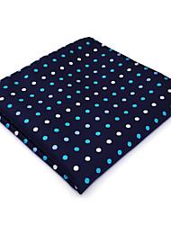 BH24 Mens Hanky Navy Blue Polka Dot 100% Silk Business Casual Jacquard New For Men