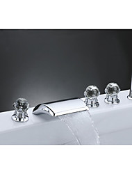 Contemporary Country Art Deco/Retro Widespread Waterfall with  Ceramic Valve Three Handles Five Holes for  Chrome  Bathtub Faucet