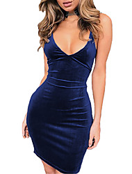 cheap -Women's Bodycon Dress - Solid Colored Strap