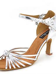 cheap -Women's Latin Jazz Salsa Swing Shoes Leatherette Sandal Heel Practice Beginner Professional Indoor Performance Rhinestone Sequin Buckle
