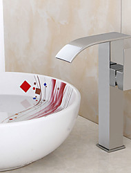 cheap -Contemporary Art Deco/Retro Modern Centerset Pre Rinse Waterfall Widespread Ceramic Valve Single Handle Two Holes Chrome, Bathroom Sink